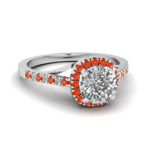 Orange Topaz Cushion Cut Ring