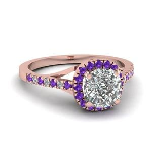Violet Topaz Halo Ring