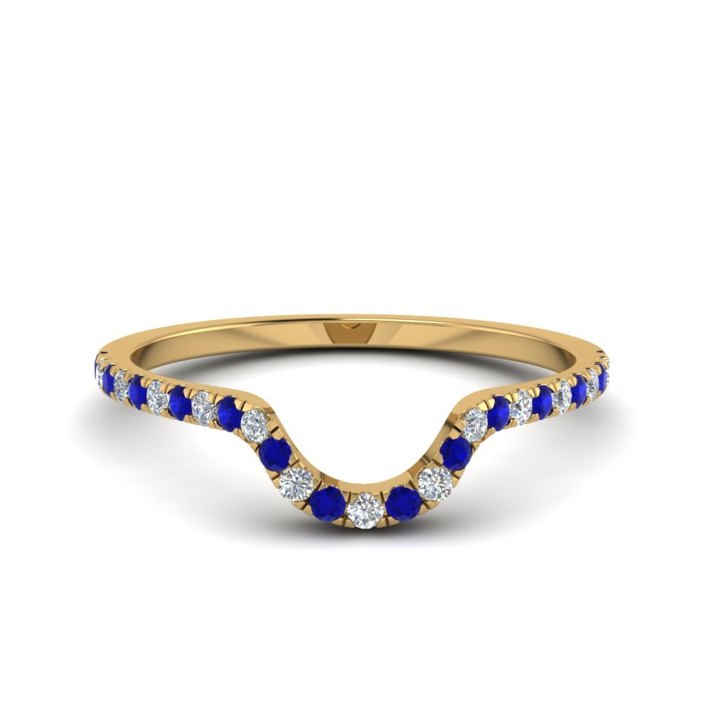 French Pave Diamond Curved Wedding Band With Blue Sapphire In 14K Yellow Gold