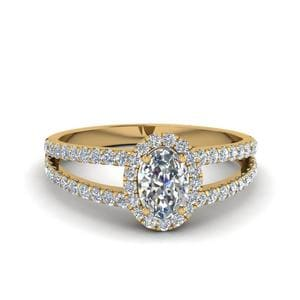 French Pave Halo Oval Shaped Diamond Split Ring In 14K Yellow Gold
