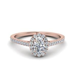 French Pave Oval Shaped Diamond Halo Engagement Ring In 14K Rose Gold