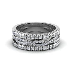 French Pave Trio Diamond Stack Band In 18K White Gold