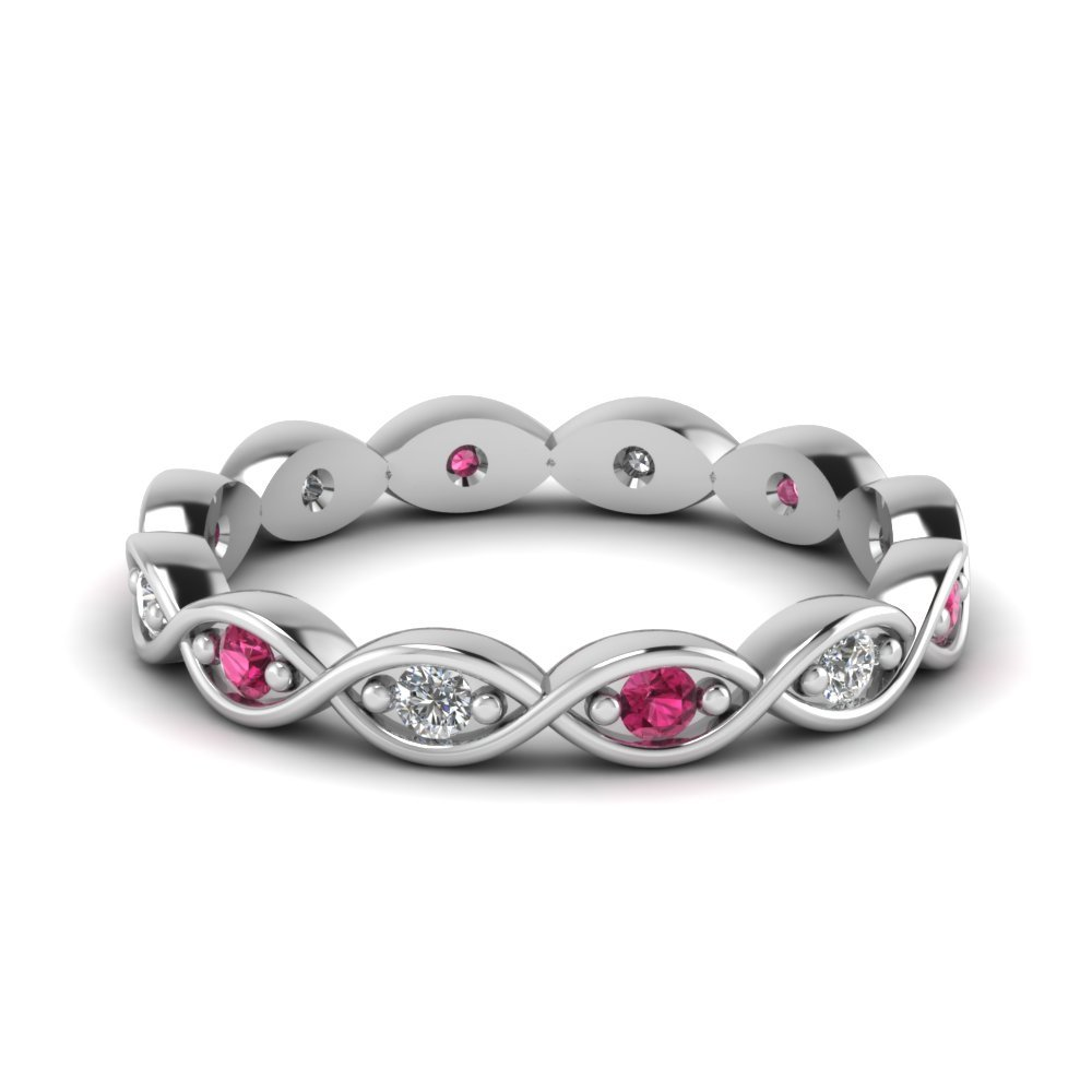 Pink Sapphire Infinity Twist Eternity Band
