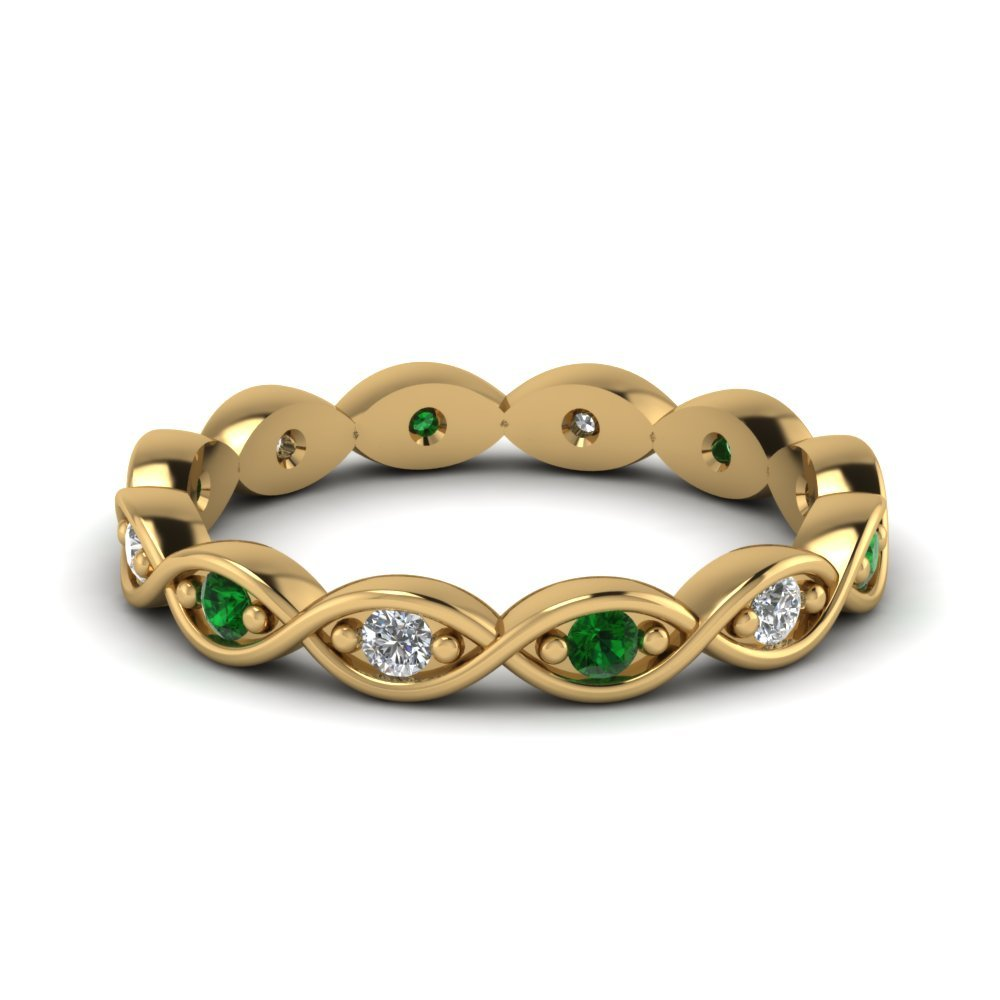 Eternity Wedding Band With Emerald
