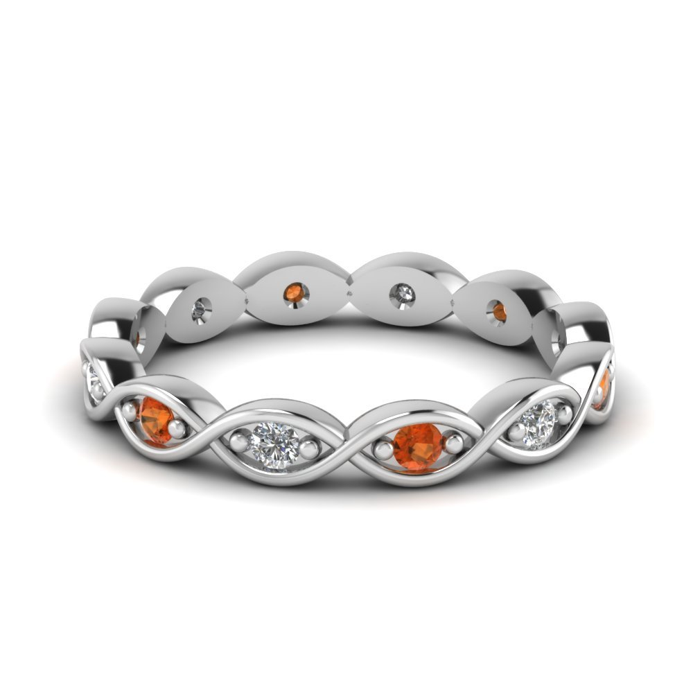 Diamond Eternity Band With Orange Sapphire