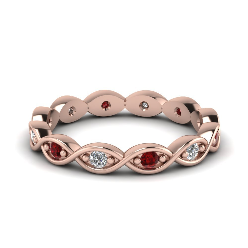 Infinity Knot Eternity Band With Ruby