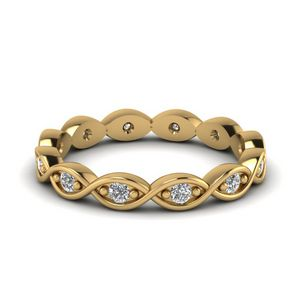 Frond Eternity Wedding Band With White Diamond In 14K Yellow Gold