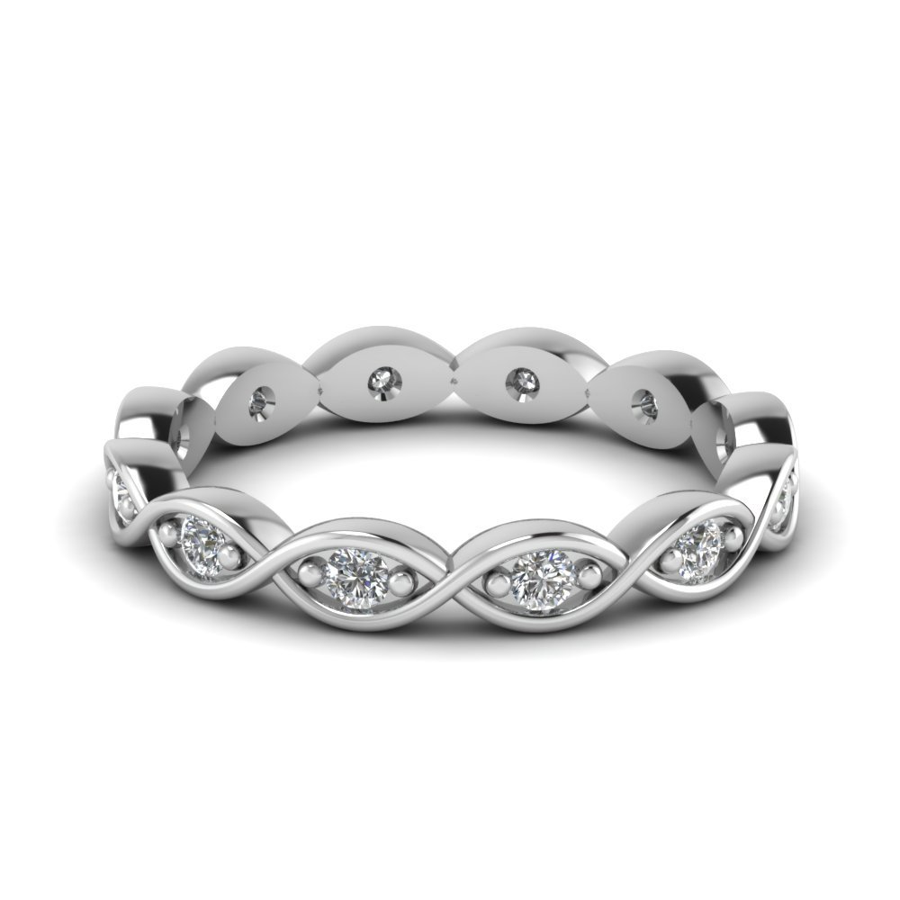 Infinity Eternity Diamond Wedding Band In 18K White Gold