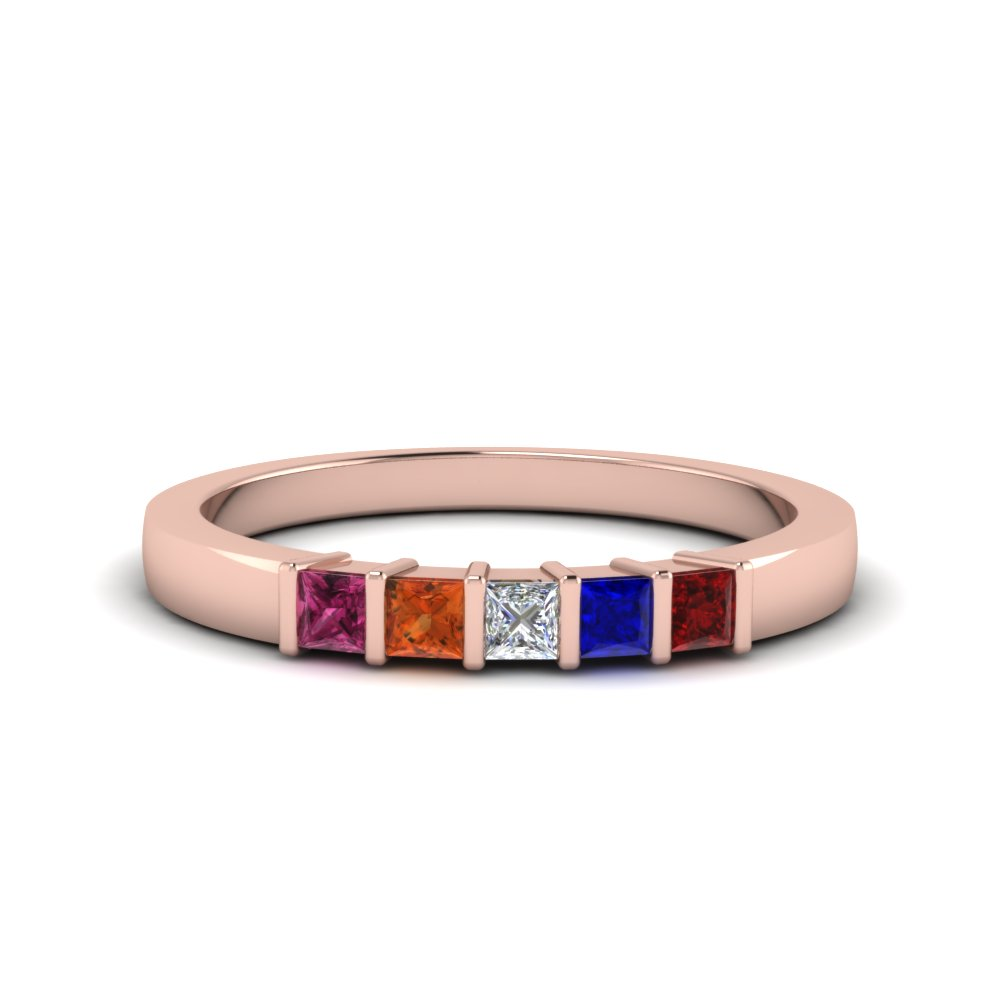 Gemstone Mothers Ring 5 Stones In 14K Rose Gold