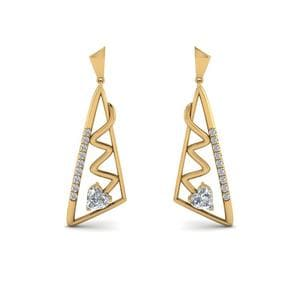 Yellow Gold Diamond Drop Earring