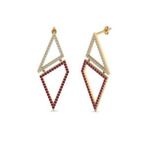 Geometric Diamond Drop Earring With Pink Sapphire In 14K Yellow Gold