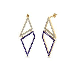 Geometric Diamond Drop Earring With Sapphire In 14K Yellow Gold