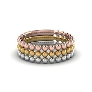 Women's Mixed Gold Bead Stacked Bands
