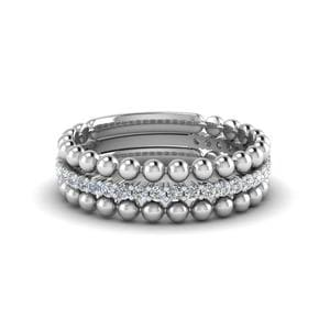 Women's Beaded White Gold Stackable Bands