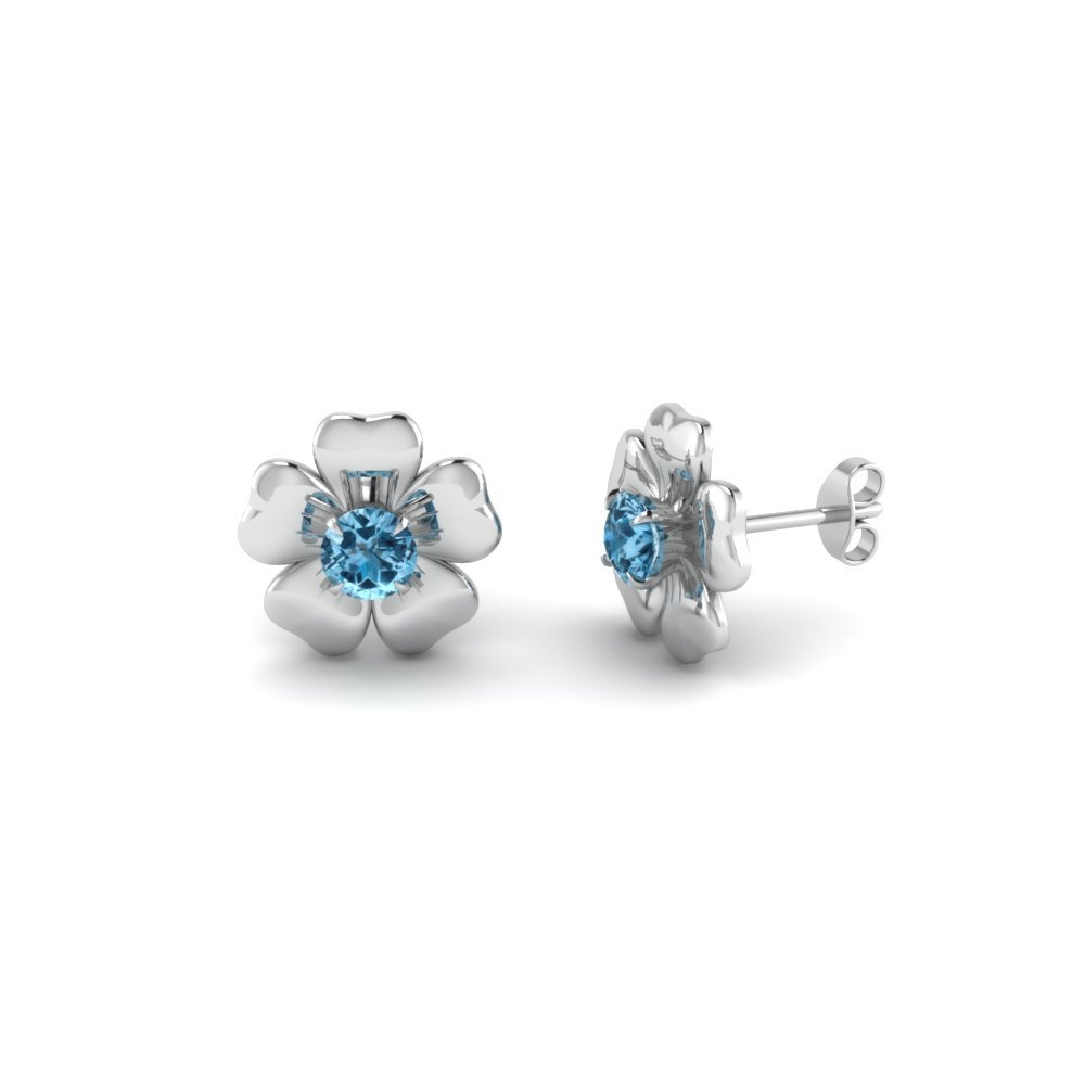 Daisy Blue Topaz Stud Earring In 14K White Gold