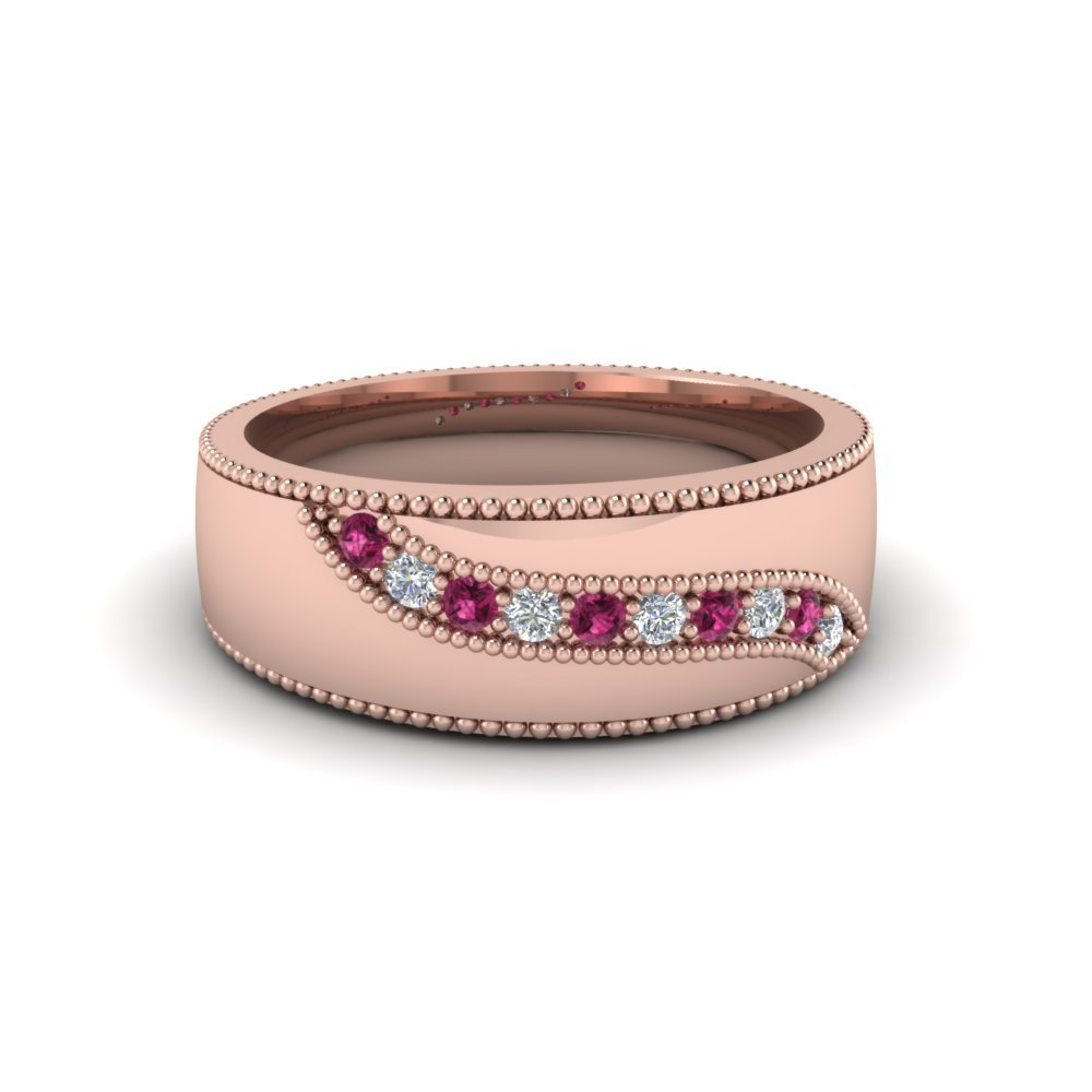 Milgrain Mens Diamond And pink sapphire Band