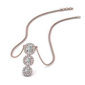 Graduated 3 Diamond Halo Necklace In 14K Rose Gold