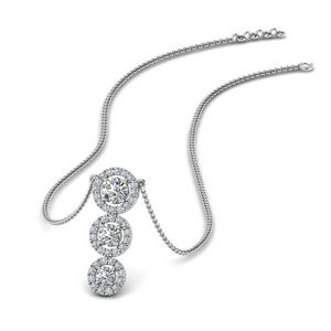 Graduated 3 Diamond Halo Necklace In 14K White Gold
