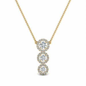 Graduated Three Diamond Halo Necklace