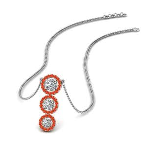 Orange Topaz Triple Halo Pendant