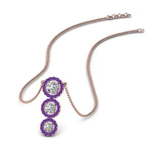 Purple Topaz Halo Necklace