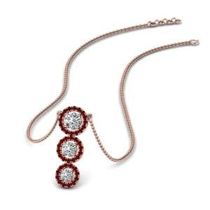 Triple Halo Ruby Necklace Pendant