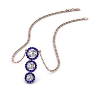 Graduated Diamond Sapphire Necklace