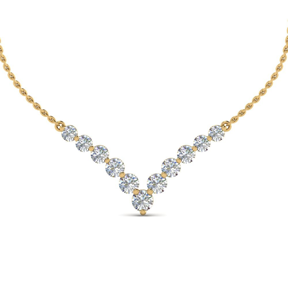 Graduated Diamond Necklace Anniversary Gifts In 14K Yellow Gold