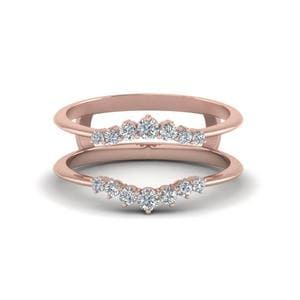 Graduated Diamond Ring Guards In 18K Rose Gold