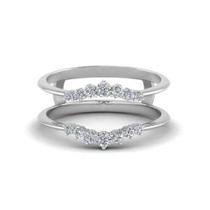 Graduated Diamond Ring Guards In 18K White Gold