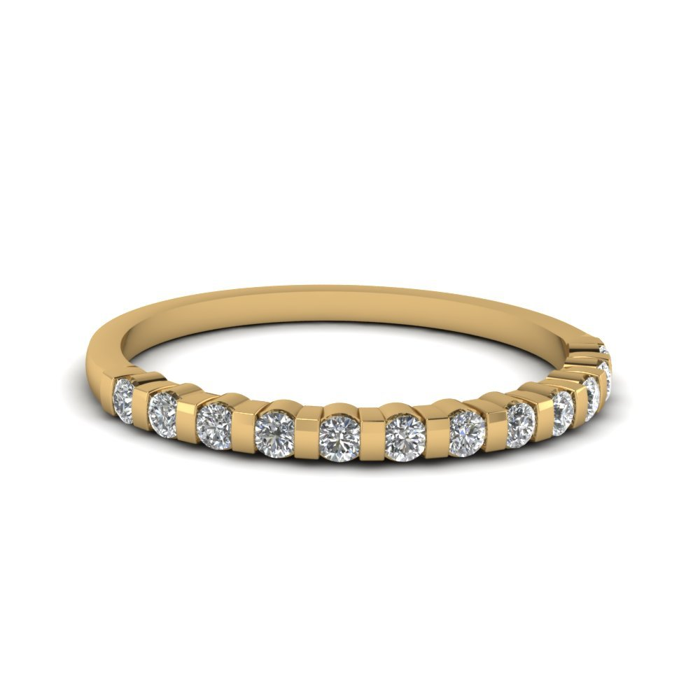 Half Bezel Set Round Diamond Anniversary Wedding Women Band In 18K Yellow Gold