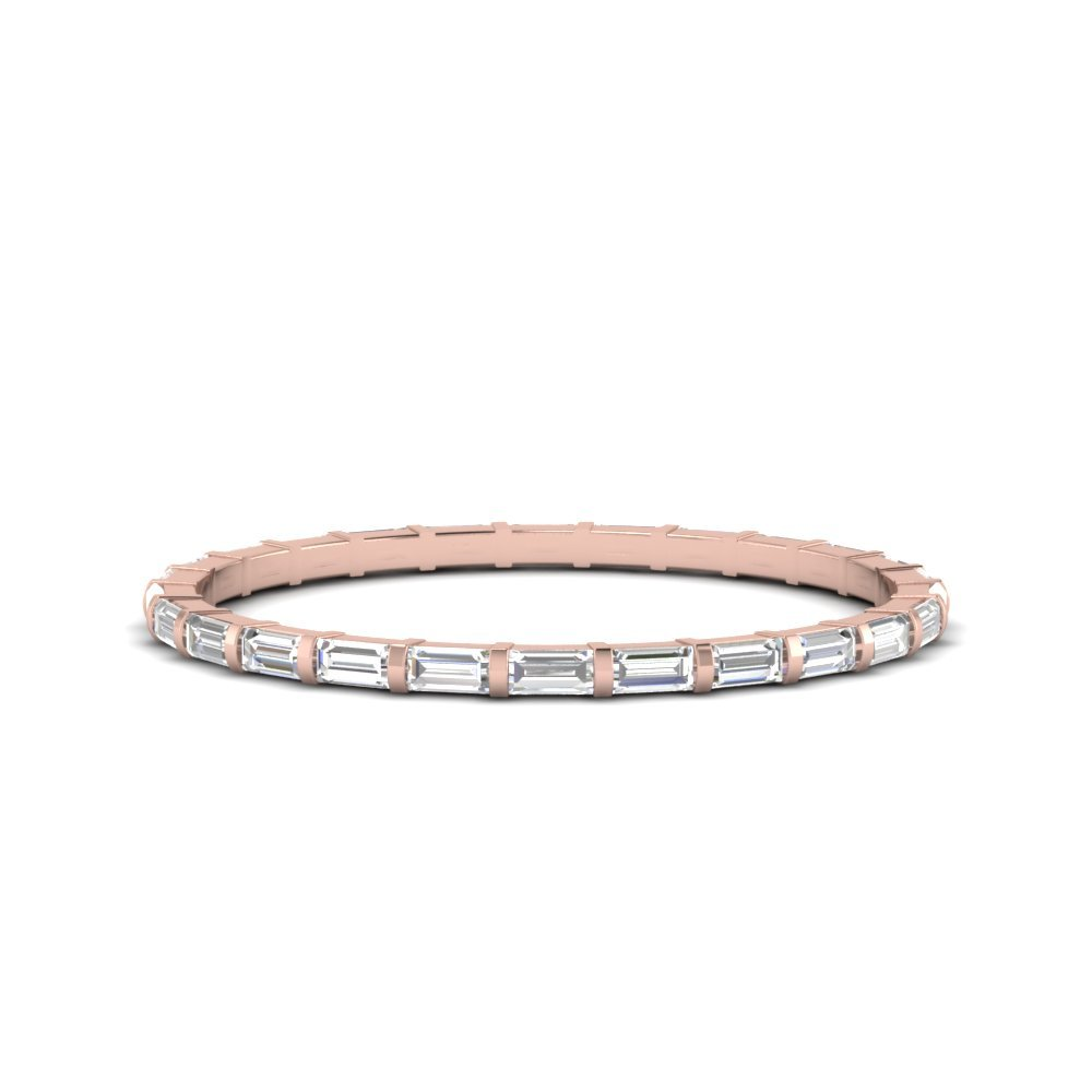 Half Carat Baguette Bar Eternity Band Thin In 18K Rose Gold