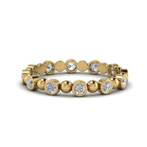 Half Carat Bead Bezel Set Band