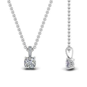 Half Carat Cushion Diamond Filigree Pendant