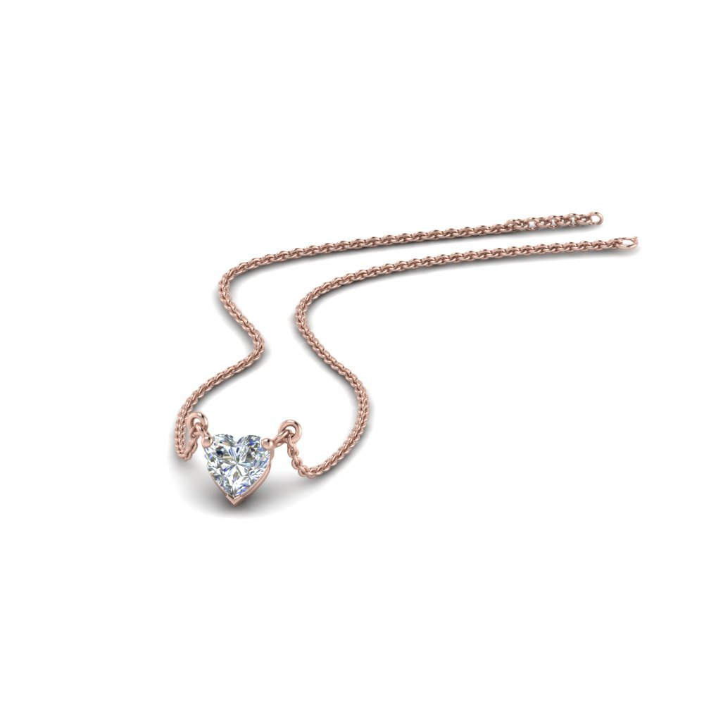 Half Carat Heart Solitaire Pendant In 18K Rose Gold