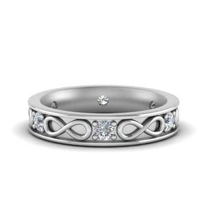 Half Carat Infinity Diamond Anniversary Band In 14K White Gold