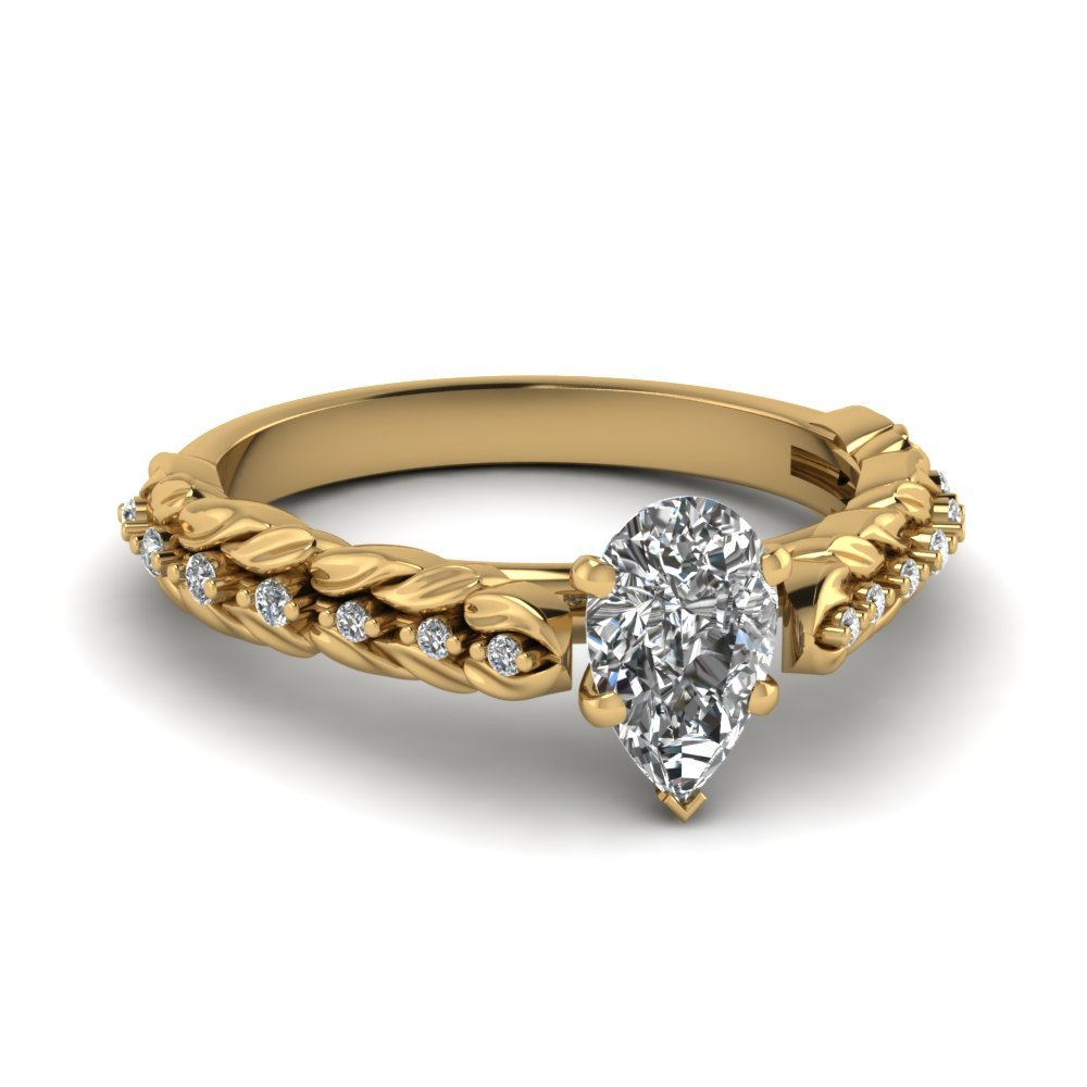 Filigree Diamond Leaf Ring