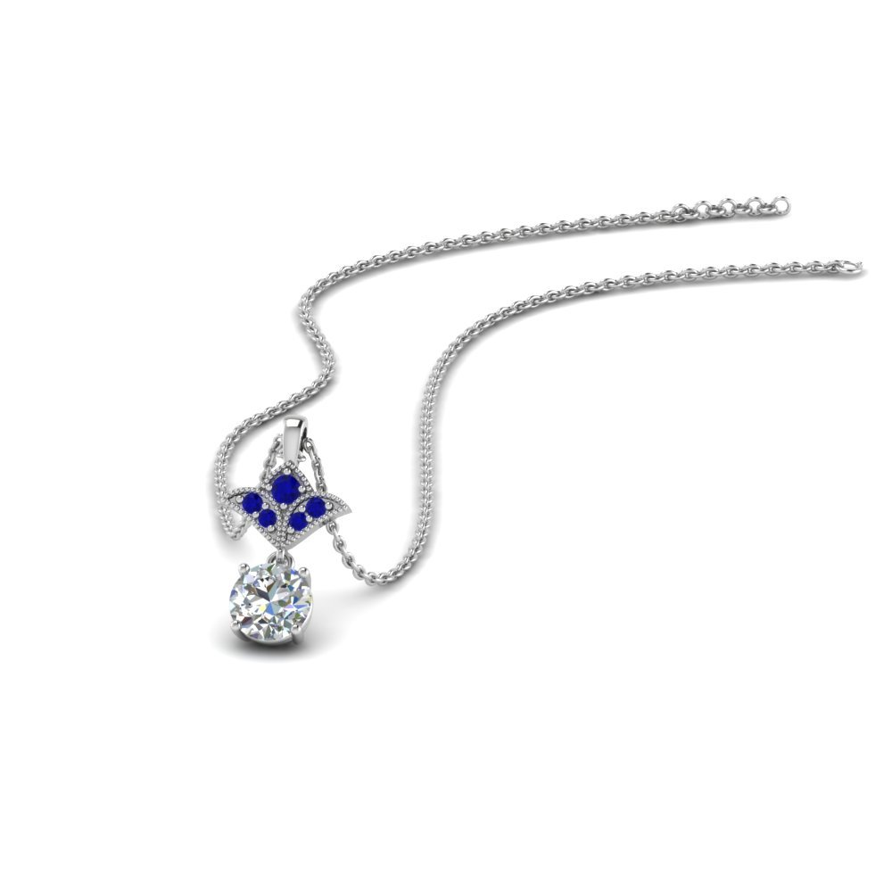 Half Carat Round Drop Pendant With Blue Sapphire In 14K White Gold