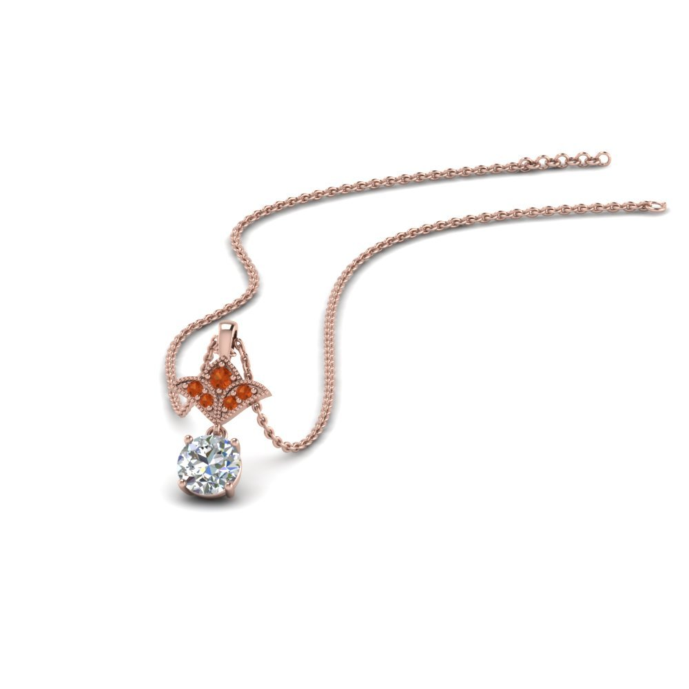 Half Carat Round Drop Pendant With Orange Sapphire In 14K Rose Gold