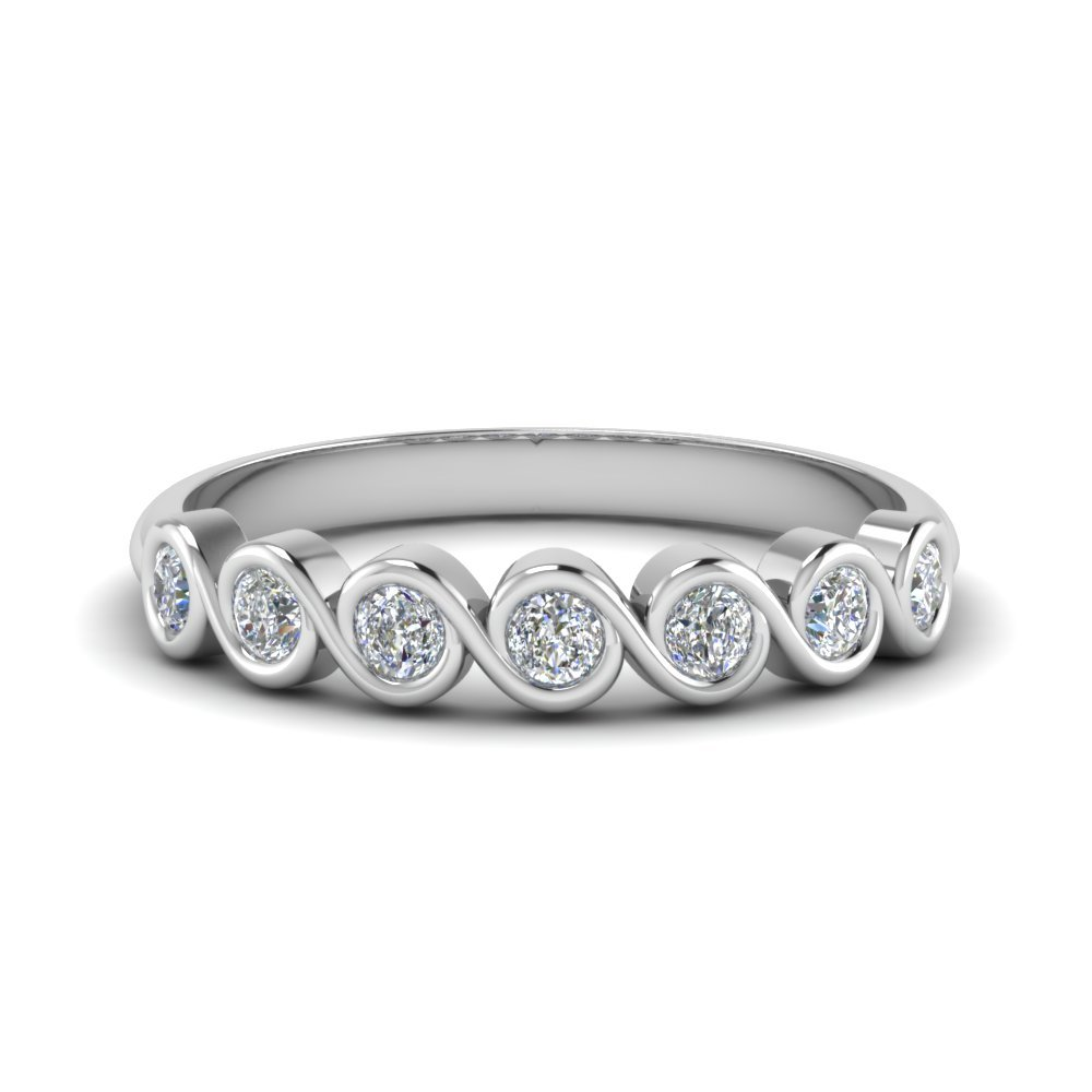 Half Carat Swirl Bezel Set Diamond Women Wedding Band In 14K White Gold