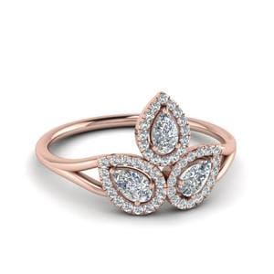 3 Pear Diamond Ring For Her