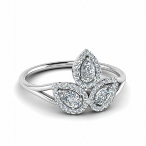 Three Pear Diamond Engagement Ring