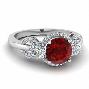 3 Stone Colored Engagement Ring