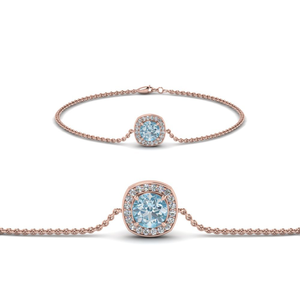 Aquamarine Rose Gold Chain Bracelet