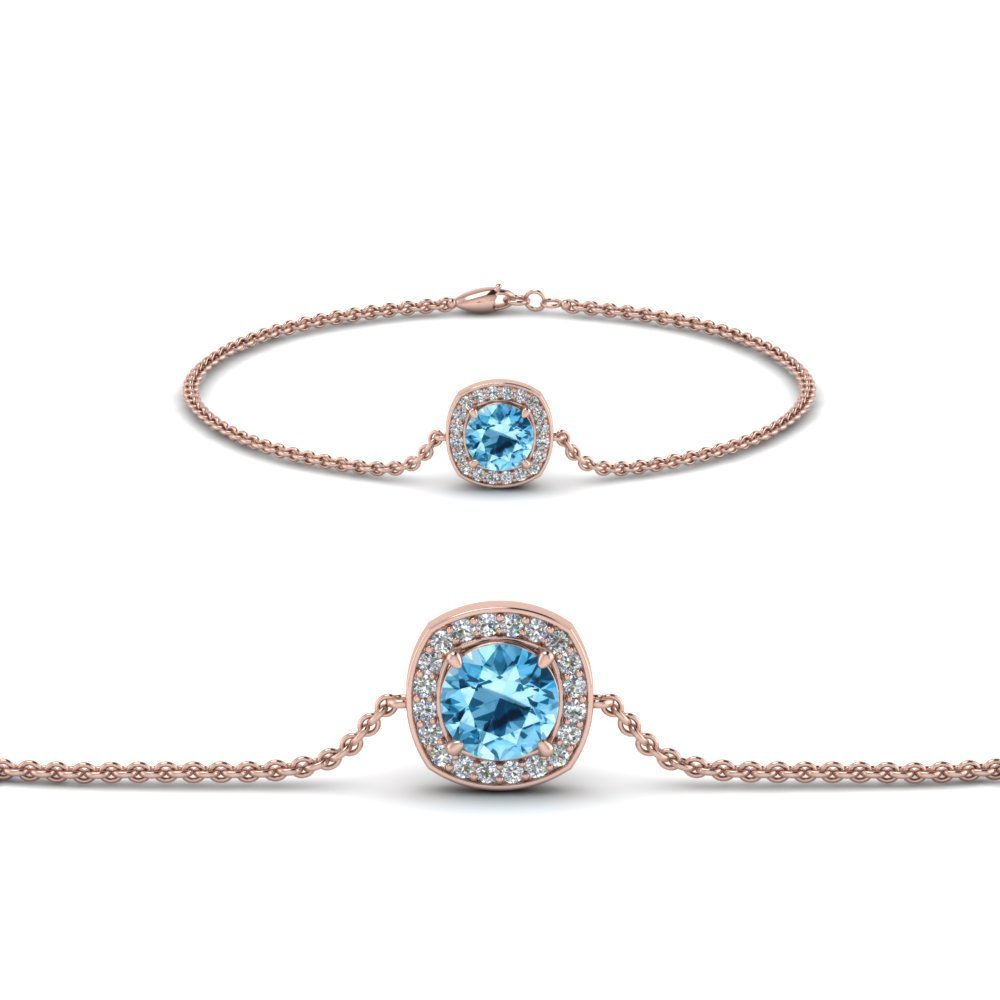 Blue Topaz Halo Chain Bracelet