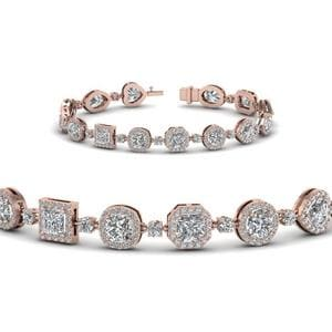 Womens Halo Diamond Bracelet