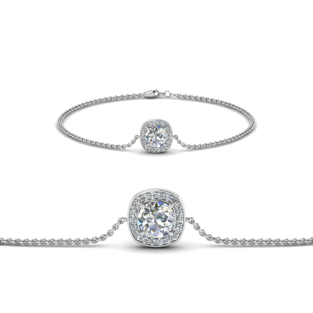 Platinum Halo Chain Diamond  Bracelet