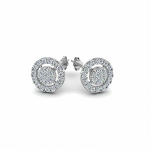 Halo Diamond Cluster Earring