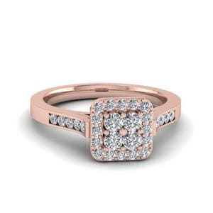 Square Halo Diamond Cluster Ring