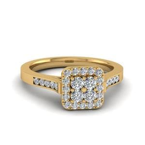Halo Diamond Cluster Ring In 14K Yellow Gold